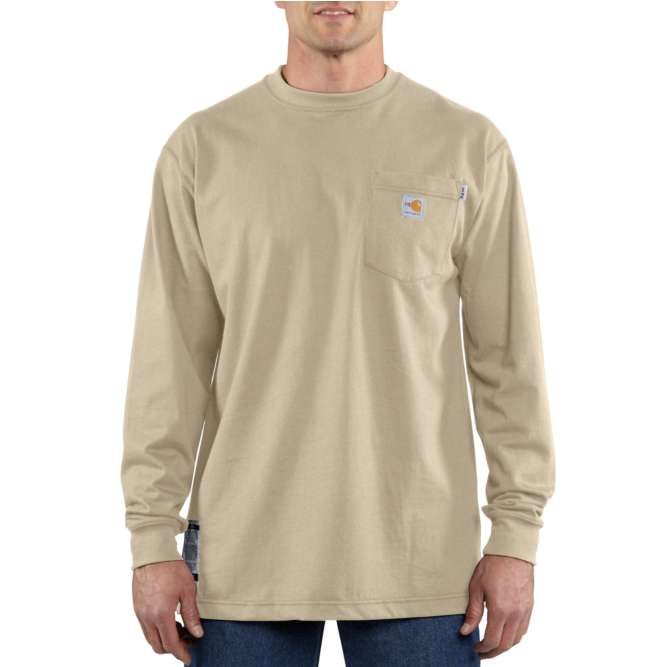 Carhartt Flame Resistant Carhartt Force Cotton Long Sleeve T‐Shirt, 100235 Khaki Option