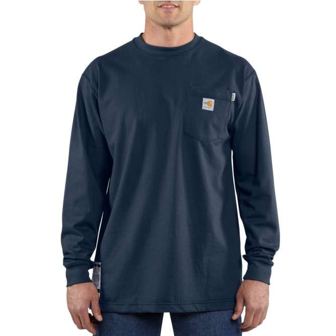 Carhartt Flame Resistant Carhartt Force Cotton Long Sleeve T‐Shirt, 100235 Dark Navy