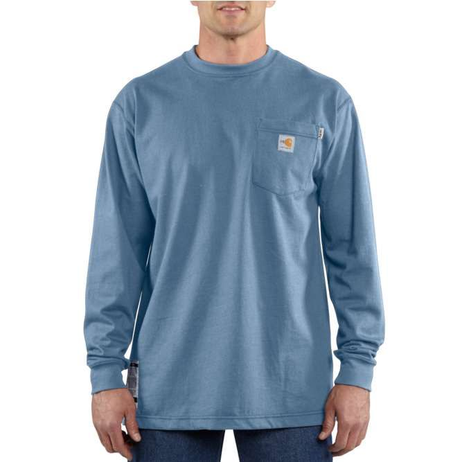 Carhartt Flame Resistant Carhartt Force Cotton Long Sleeve T‐Shirt, 100235 Medium Blue Option
