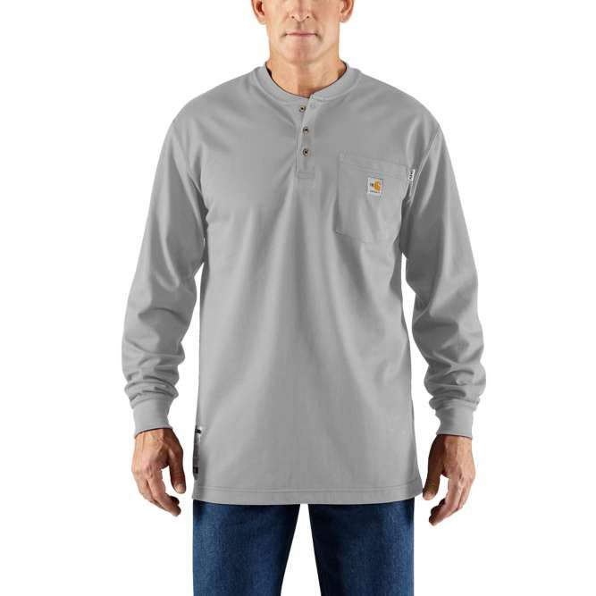 Carhartt Flame Resistant Carhartt Force Cotton Long Sleeve Henley 100237 Light Gray