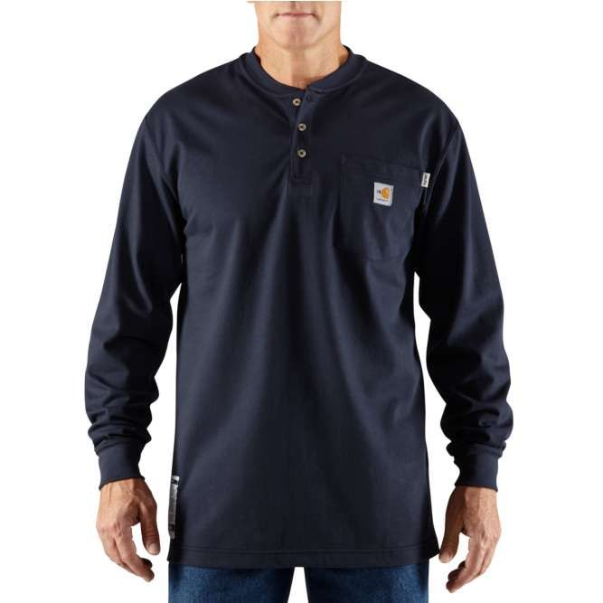 Carhartt Flame Resistant Carhartt Force Cotton Long Sleeve Henley 100237 Dark Navy Option