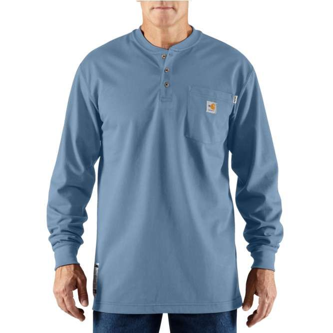 Carhartt Flame Resistant Carhartt Force Cotton Long Sleeve Henley 100237 Medium Blue