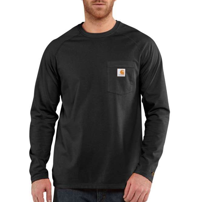 Carhartt Force Cotton Delmont Long‐Sleeve T‐Shirt, 100393 Black