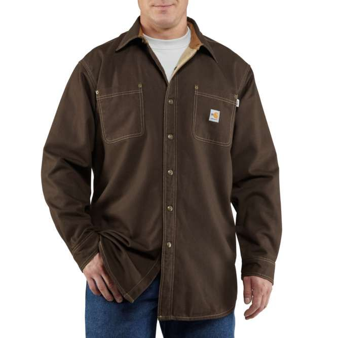 Carhartt Flame Resistant Canvas Shirt Jac, 100432 Dark Brown Option