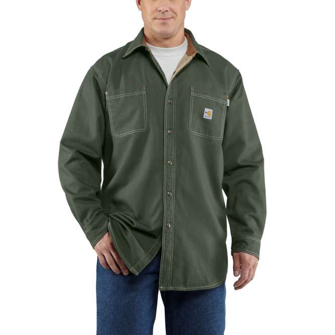 Carhartt Flame Resistant Canvas Shirt Jac, 100432 Moss Option