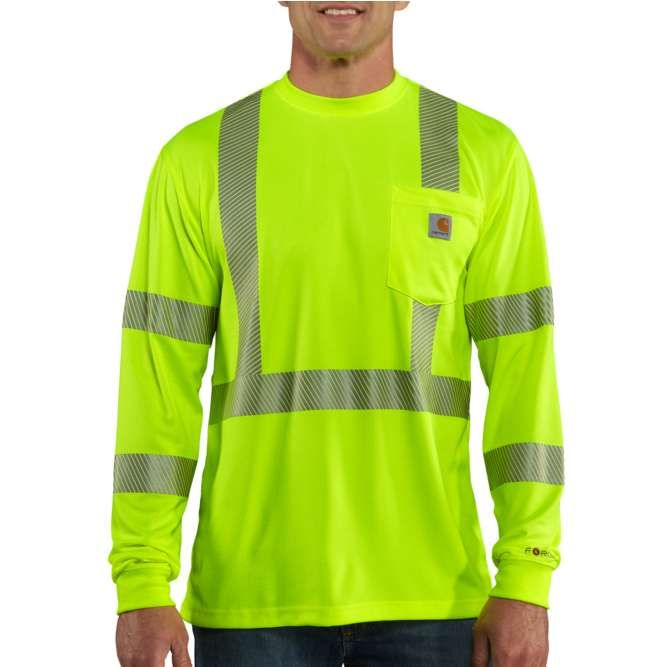 Carhartt Force High Visibility Long Sleeve Class 3 T-Shirt 100496 Brite Lime Option