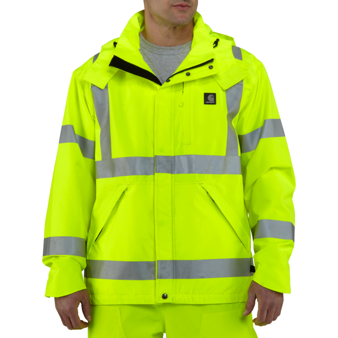 Carhartt High‐Visibility Class 3 Waterproof Jacket, 100499 Brite Lime