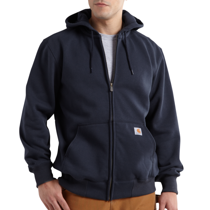 Carhartt Rain Defender Paxton Heavyweight Hooded Zip Front Sweatshirt, 100614 New Navy