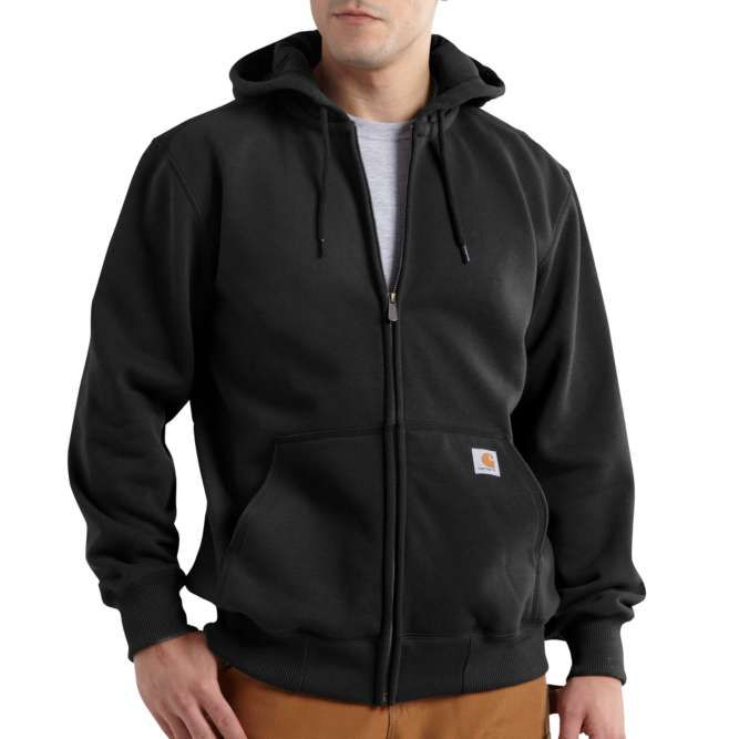Carhartt Rain Defender Paxton Heavyweight Hooded Zip Front Sweatshirt, 100614 Black Option