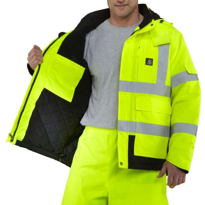 Carhartt High Visibility Class 3 Sherwood Jacket, 100787 Brite Lime Open