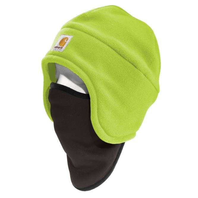 Carhartt High Visibility Color Enhanced Fleece 2‐in‐1 Hat, 100795 Brite Lime Option