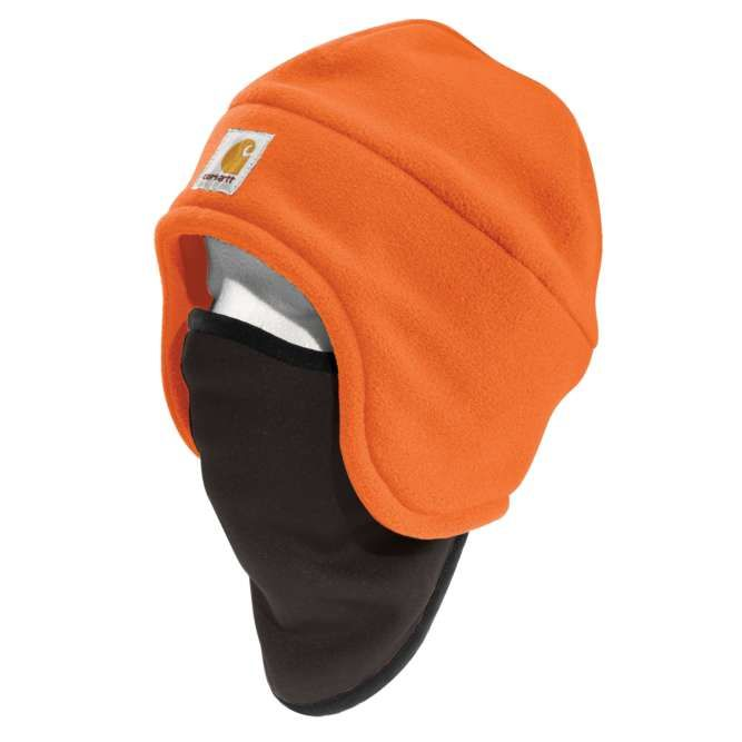 Carhartt High Visibility Color Enhanced Fleece 2‐in‐1 Hat, 100795 Brite Orange Option