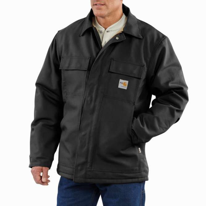 Carhartt Flame Resistant Duck Quilt Lined Traditional Coat, 101618 Black