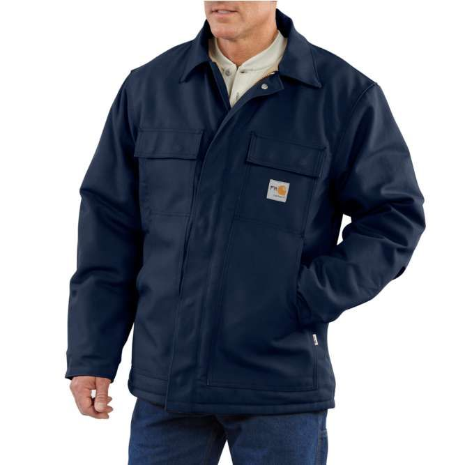 Carhartt Flame Resistant Duck Quilt Lined Traditional Coat, 101618 Dark Navy Option