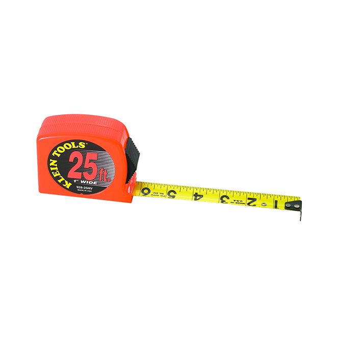 Klein Tools Tape Measure, High Visibility Case, 25-Foot, 928-25HV