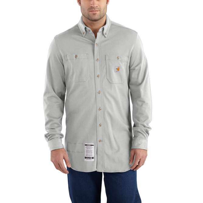 Carhartt Original Fit, Flame‐Resistant Carhartt Force,  Button Down, Cotton Hybrid Shirt, 101698 Light Gray Option