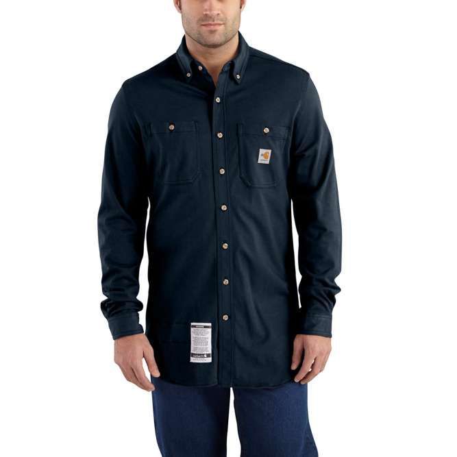 Carhartt Original Fit, Flame‐Resistant Carhartt Force,  Button Down, Cotton Hybrid Shirt, 101698 Dark Navy