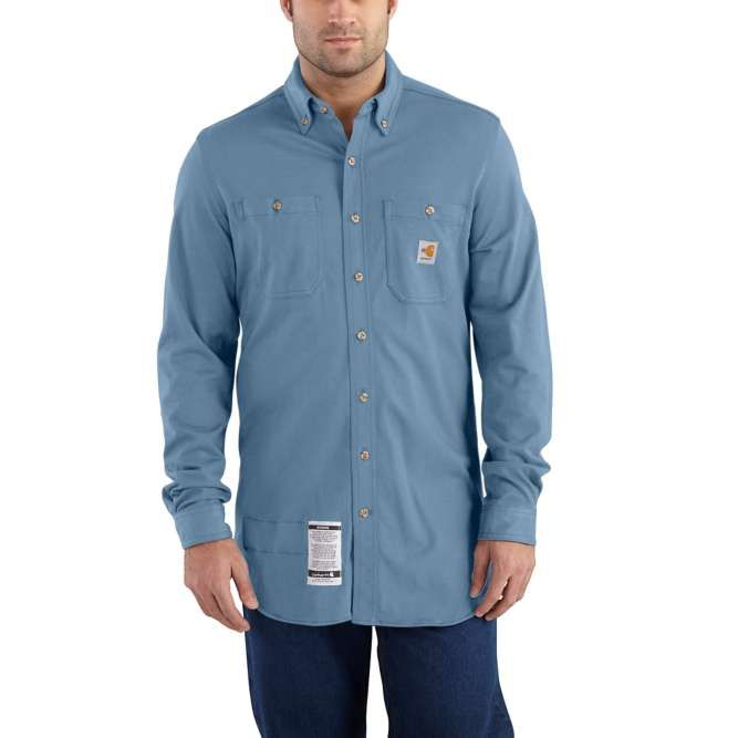 Carhartt Original Fit, Flame‐Resistant Carhartt Force,  Button Down, Cotton Hybrid Shirt, 101698 Medium Blue
