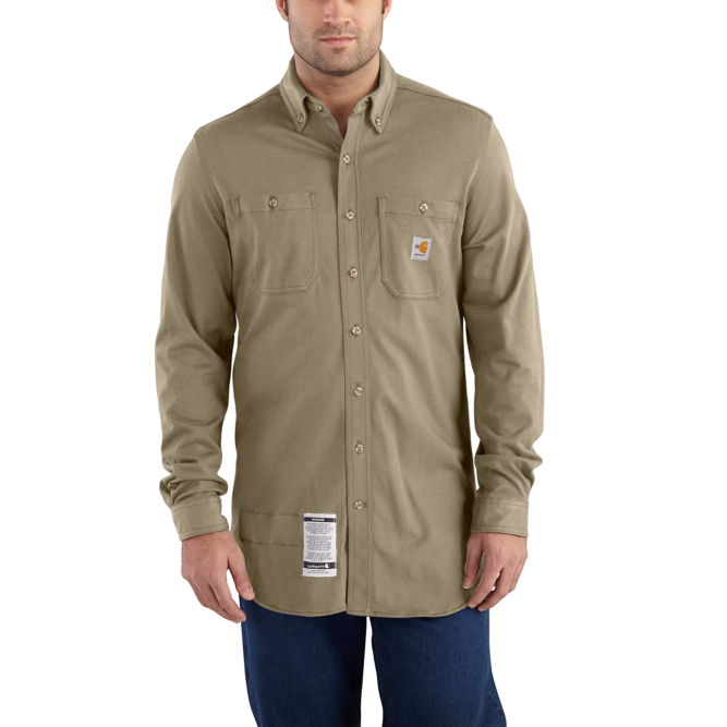 Carhartt Original Fit, Flame‐Resistant Carhartt Force,  Button Down, Cotton Hybrid Shirt, 101698 Khaki Option