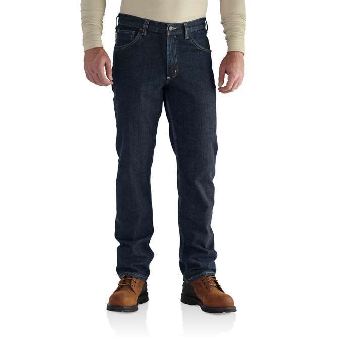 Carhartt Flame Resistant Rugged Flex Jean, Straight Traditional Fit, 101814 Deep Indigo Wash