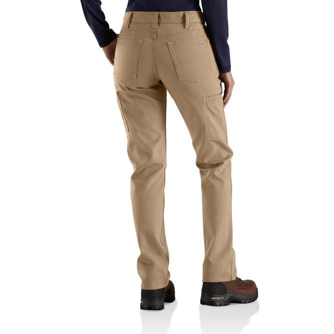 Carhartt Women's Flame Resistant Original Fit Rugged Flex Canvas Pant, 102689 Golden Khaki back
