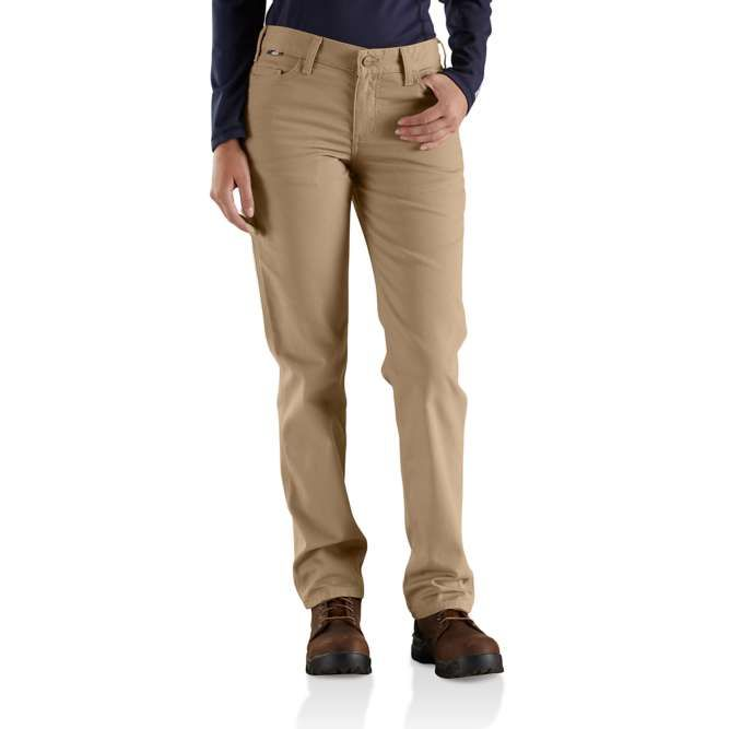 Carhartt Women's Flame Resistant Original Fit Rugged Flex Canvas Pant, 102689 Golden Khaki