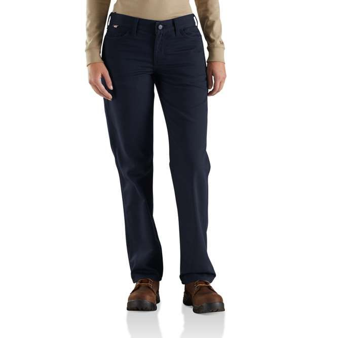 Carhartt Women's Flame Resistant Original Fit Rugged Flex Canvas Pant, 102689 Dark Navy Option