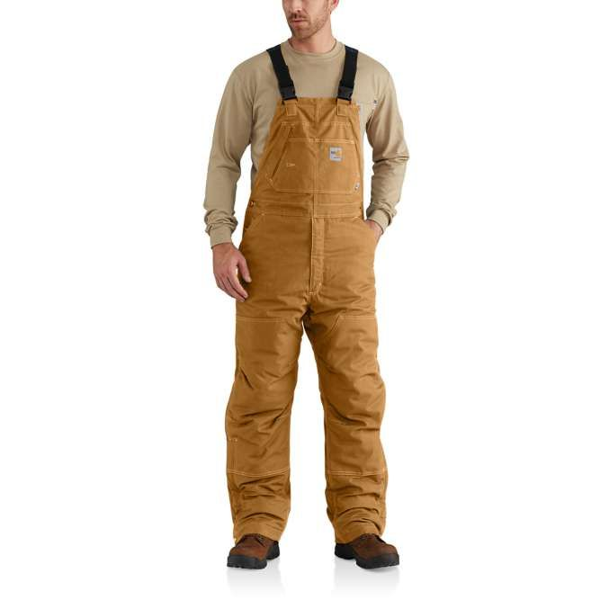 Carhartt Flame Resistant Duck Quilt Lined Bib Overall, 102691 Carhartt Brown
