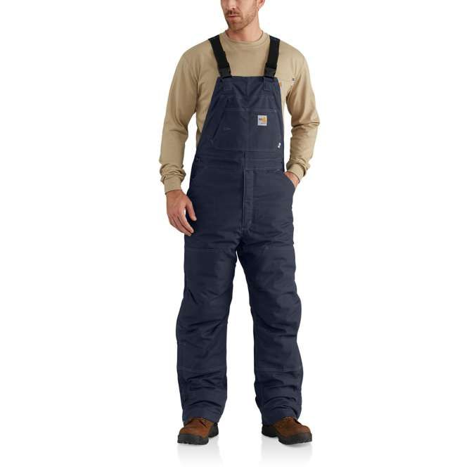 Carhartt Flame Resistant Duck Quilt Lined Bib Overall, 102691 Dark Navy