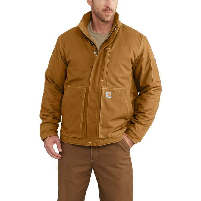 Carhartt Full Swing Quick Duck Flame Resistant Lanyard Access Jacket, 102692 Carhartt Brown Option