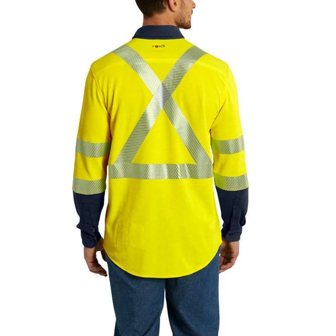 Carhartt Flame Resistant High Visibility Force Hybrid Shirt, 102843 Brite Lime Back